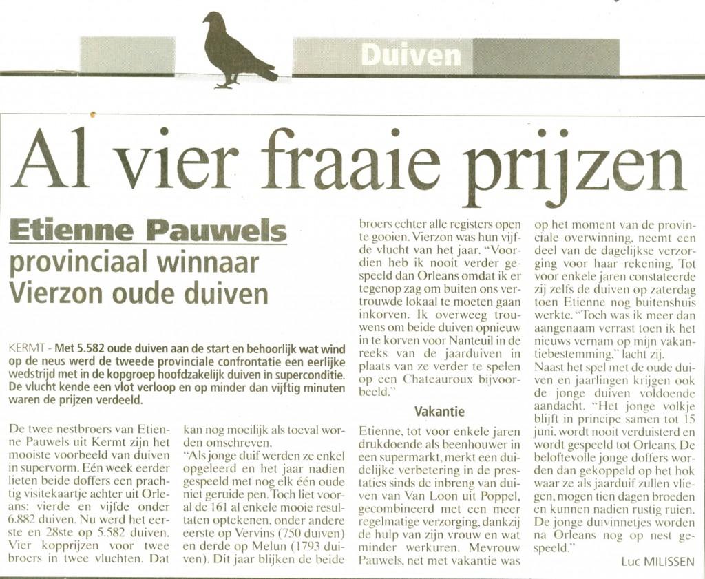 Etienne Pauwels Brieftauben markt Zuechter 9994